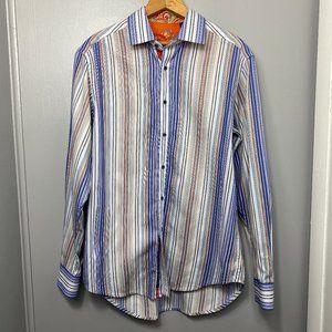 ROBERT GRAHAM Blue Striped Button Down Shirt